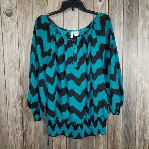 Sami Jo Teal Green Blue Black Boho Peasant Top